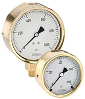 NOSHOK 300 Series Brass Case Liquid Filled Gauge